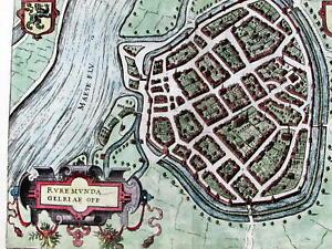 Roermond Netherlands Holland city plan dragon crest 1582 Antwerp Plantijn map