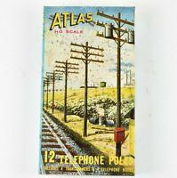 Atlas HO Scale 12 Telephone Poles in Original Box New Unused NOS