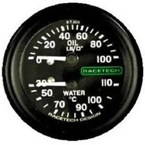 "Racetech Oil Pressure/Water Temp Gauge Backlit 1/8"" BSP Cone Fitting 12ft Pipe"