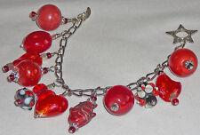 Artisan made blown glass pendant bead bracelet