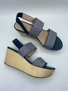 GORMAN Blue & White Stripe Wooden Platform Sandals sz 39 or 8 AU [md