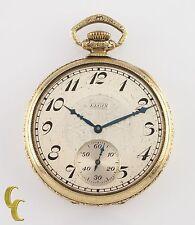 Gold Filled Elgin Antique Open Face Pocket Watch Gr 345 Size 12 17 Jewel