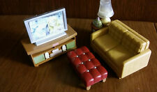 FISHER PRICE Loving Family Dollhouse Couch Endtable Music Sound TV Stand Ottoman