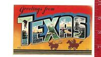 vintage Linen Large Letter Greetings from Texas