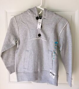 NWT Boys Children's Place Heather Gray Button Pullover Hoodie Sweatshirt, M 7-8