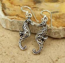 Seahorse Design Filigree 925 Sterling Silver Drop Earrings Jewellery