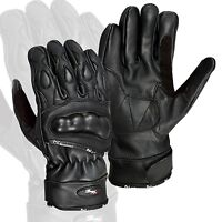 Black Leather Motorcycle Gloves Motorbike Carbon Knuckle Pads