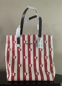 Coach Star Stripe Print Tote 🇺🇸 $278 Patriotic 💥 Stars & Stripes 🧨 Americana