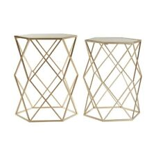 Arcana Side Coffee Tables Mirror Top Champagne Steel Hexagonal Set of 2