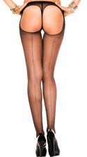 One Size Fits Most Womens Backseam Sheer Thong Back Pantyhose, Sheer Backseam