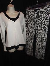 NEW PJ SALVAGE Black & White 2fer LS Sleep Top & Silky Modal Zebra Pants PJ Set