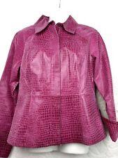 Women's Live A Little Faux Crocodile Print Leather Jacket Coat Size S Small