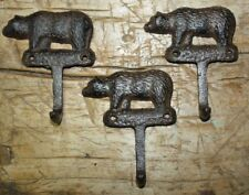 3 Cast Iron Antique Style BEAR Towel Coat Hooks Hat Hook Key Rack Hunting