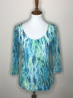 Chico's Women's Size 1 Blue Green 3/4 Sleeve Top Shirt