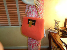 NWT TORY BURCH FUN FUR ORANGE Sheepskin CLUTCH $550  DUST BAG