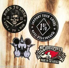4er Set Hardcore Oldschool Retro Aufkleber / Sticker Harley Bobber 1% Outlaws