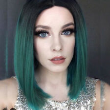Synthetic Ombre Green Bob Hair Short Straight Dark Roots Side Part Wig for Women