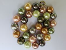 """14mm Mother of Pearl Necklace 18"""" Sterling Silver Lobster Clasp Multi-Colored"""