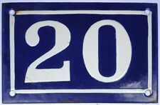 Old blue French house number 20 door gate plate plaque enamel metal sign c1950