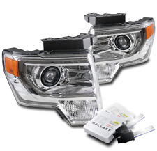 FOR 2009-2014 FORD F-150 CHROME PROJECTOR HALOGEN HEADLIGHTS LAMP W/6K XENON HID