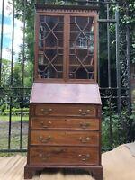Tall Antique Mid Victorian Mahogany Hepplewhite Inlaid Marquetry Bureau Bookcase