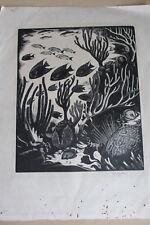 Robert Gibbings, signed large wood-engraving, blue angel fish & coral