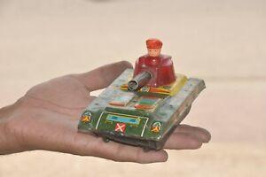 Vintage Friction Ajay Tank M-38 Litho Fire Sparkle Tank Tin Toy