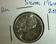 "1964 CANADA SILVER 25¢ CENT ""AU""    HIGHER GRADE COIN"