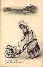 Ostern, Mädchen mit Schubkarre, Lamm, 1908