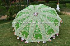 Handmade White & Green Elephant Embroidery Garden Umbrella Outdoor Patio Parasol
