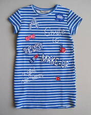"""MAYORAL Girls 8 Blue White """"Smile is the Best Makeup"""" Striped Tunic Dress 128 cm"""