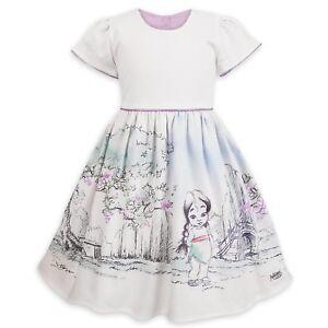 Disney Store Animators Mulan Princess White Fancy Party Dress for Girls Costume
