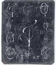 Große Monogramm Schablone OT TO Jugendstil Weißblech 15,5 x 18 cm Weissstickerei