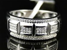 10K White Gold Genuine Diamond Pave Wedding Engagement Band Ring .33 Ct