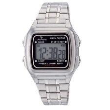 NEW Laurens L116J904Y Kids' Classic Alarm Chrono Digital Silver Steel Band Watch