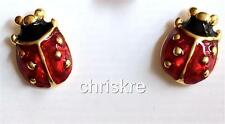 Gold Ladybug Post Earrings Plated Lady Bug Insect Red Enamel Post USA Seller