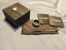 Emporio Armani unisex   Silver & Rubber Ring in box and tags