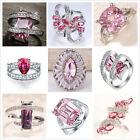 Women 925 Silver Pink Sapphire Gemstone Ring Elegant Wedding Engagement Size6-10