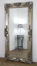 "Ella Champagne Silver Ornate Leaner Vintage Floor Mirror 80"" x 40"" XL"