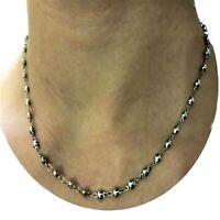 Collana rosario in acciaio inox da uomo donna di 45 cm catenina catena pallini