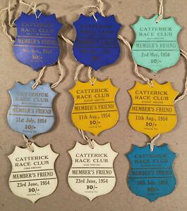 North Yorkshire UK: 9 CATTERICK RACE CLUB 1954-56 Member's Friend Badges 30/-