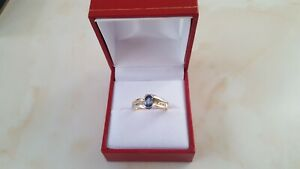 18ct Yellow / White Gold Ceylon Sapphire 0.50ct and Diamond 0.15ct Ring Size M.