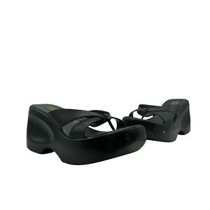 Vintage Y2K Steve Madden Womens Shoes Platform Sandals Leather Black 9