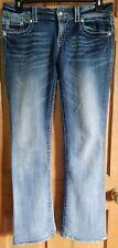 Women's Miss Me Buckle Easy Boot Cut Bling Flap Pocket Jeans Sz 29 Stretch