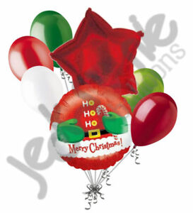 7 pc Merry Christmas Ho Ho Santa Belly Balloon Bouquet Party Decoration Gift