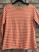 Women BODEN Orange & White Striped Long Sleeve Shirt S/M?? GRINV
