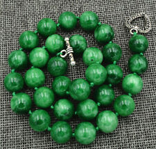 "New 12mm Burmese Emerald gemstone Necklace 18"" Tibetan silver love clasps"