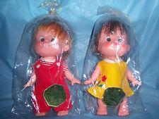 (2) vintage FORSUM #788 dolls - LITTLE BOY & GIRL with PUCKERED LIPS - NEW NOS