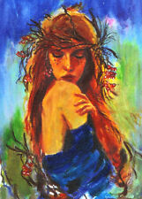 "ACEO Original Painting Collectible Art Card ""Autumn Woman"""