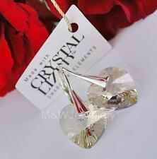 925 Sterling Silver Earrings Crystals From Swarovski® Heart Golden Shadow 14mm